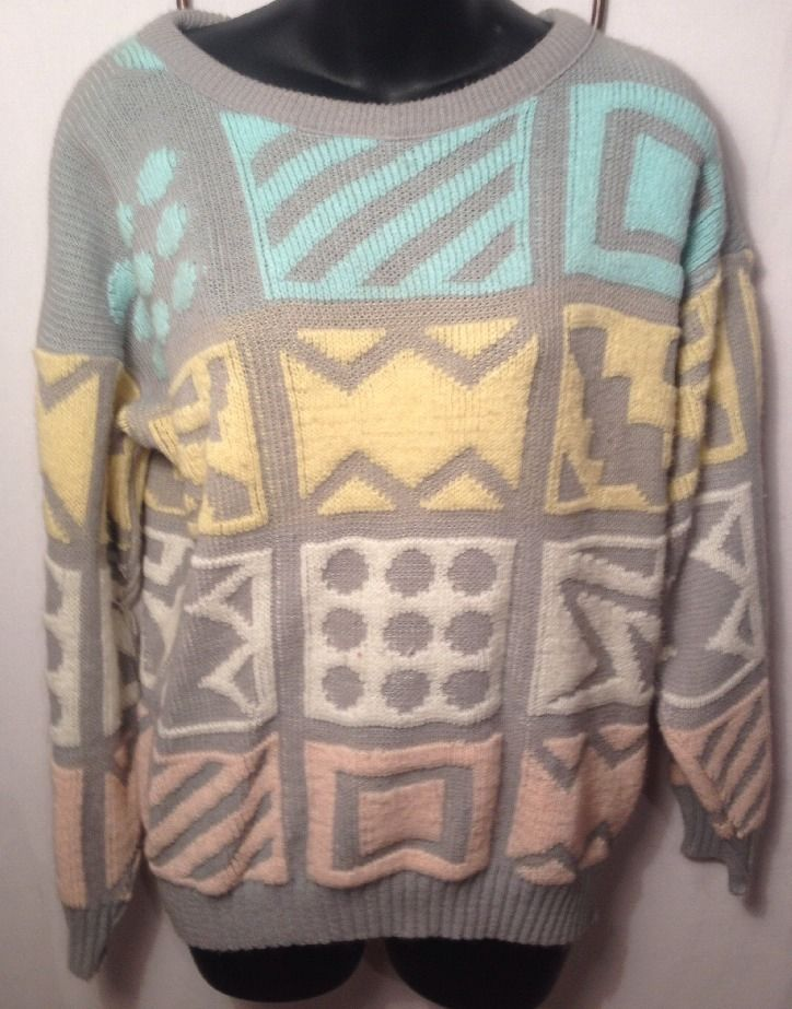 Vintage Rose Geometric Print Sweater Dots and Zig Zags USA MADE S Gray Grey