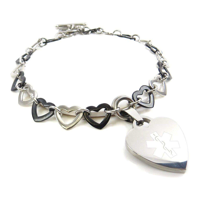 Pattern Millefiori Glass White, Pre-Engraved /& Customizable Epilepsy Medical Bracelet My Identity Doctor
