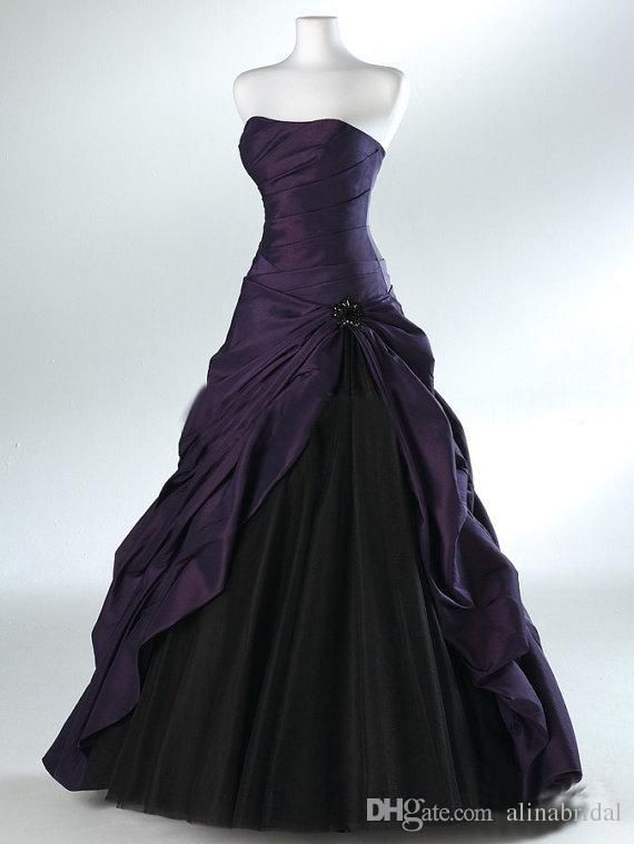 Cheap Purple And Black Ball Gown Gothic Wedding Dresses