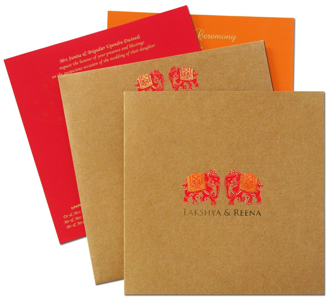 Amazing Royal Elephant theme khaki wedding invitation