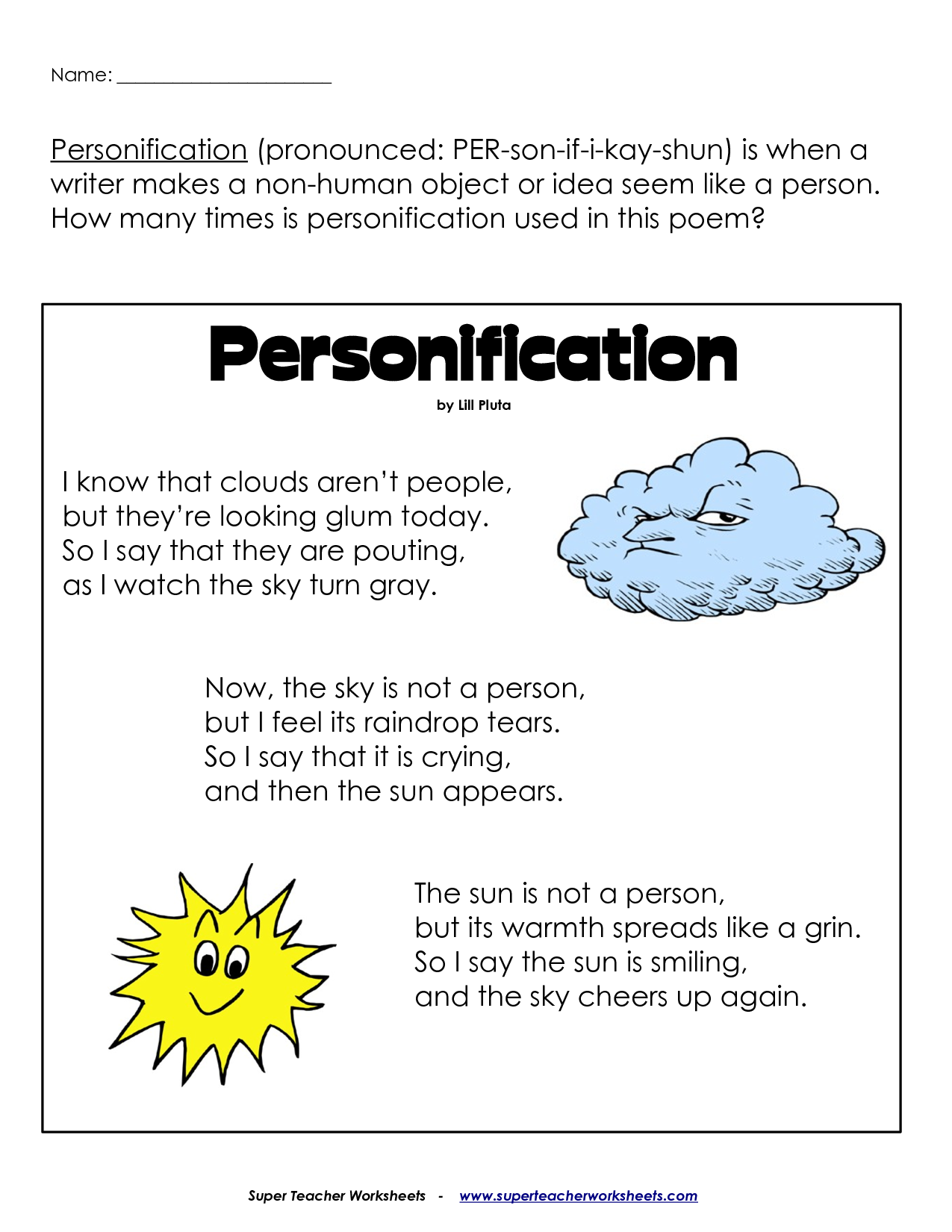 worksheet on personification pdf classroom language arts worksheet on personification pdf