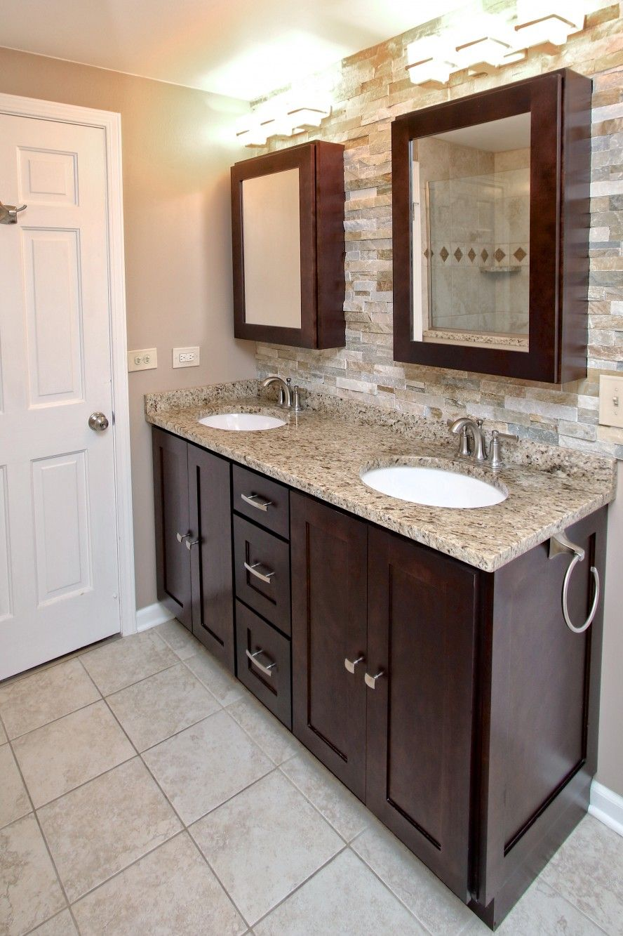 Shaker Cabinets in Stock Espresso Birch Wood Bathroom