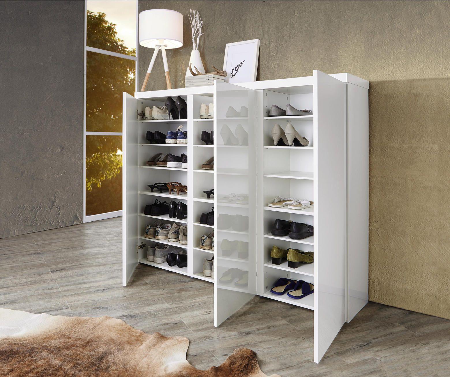 Schuhschrank Hochglanz Lackiert Weiss Shoe Cabinet Storage
