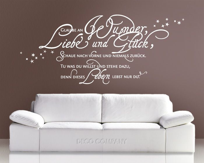 wandtattoo wandsticker wandaufkleber wohnzimmer schlafzimmer spr che liebe wandgestaltung. Black Bedroom Furniture Sets. Home Design Ideas
