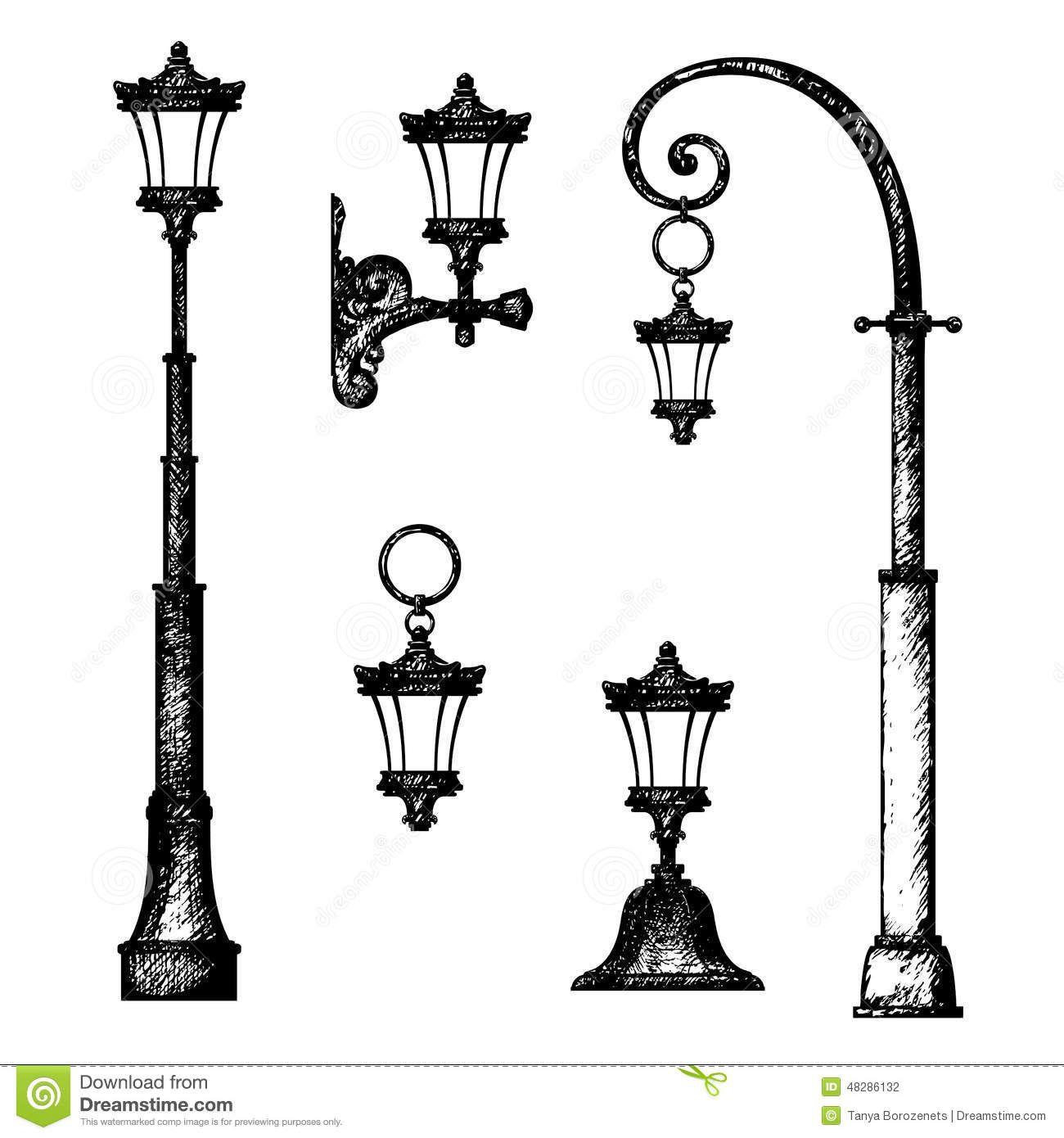 Bosquejo De La Lampara De Calle Stock De Ilustracion Imagen 48286132 Luces De La Calle Dibujos De Faroles Como Dibujar Cosas