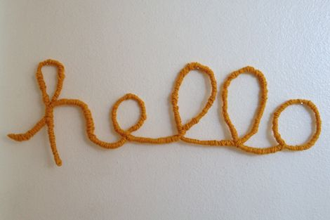 wire wrapped in yarn / welcome sign!