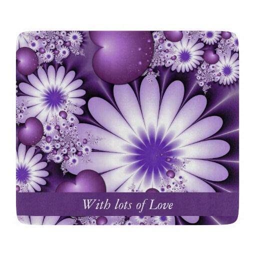 Valentines Day Abstract Flowers & Hearts Fractal Cutting Board