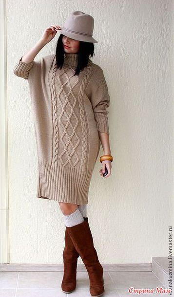 5653218ac46 Платье - свитер свободного кроя - Вяжем вместе он-лайн - Страна Мам ...