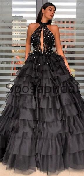 Custom Black A-line High Neck Elegant Formal Modest Prom Dresses, Ball Gwon PD1873 #modestprom