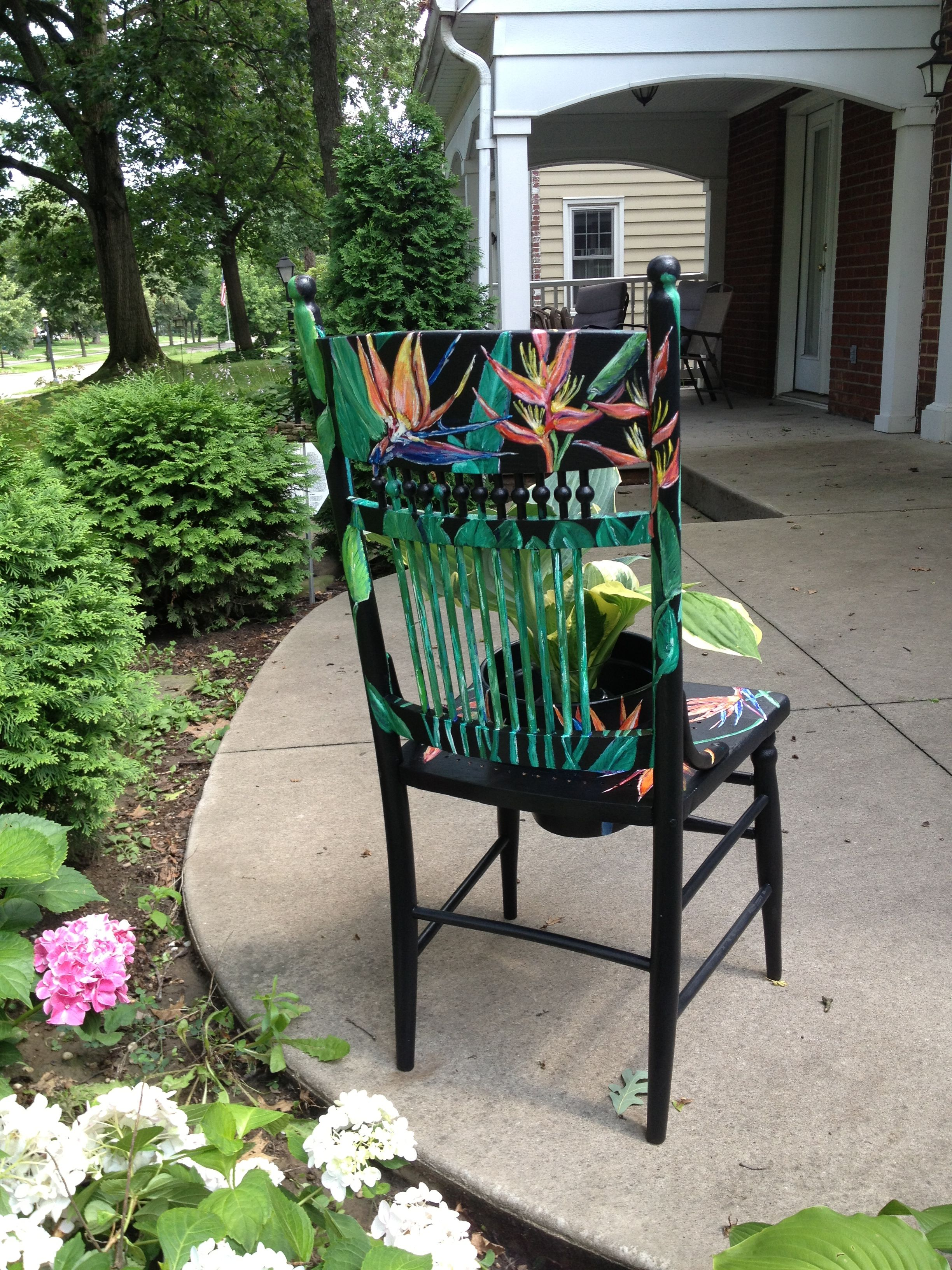 Back view of Bird of Paradise painted garden chair with ...