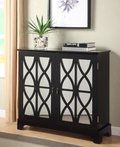 Powell Black Console With Mirrored Gl Doors