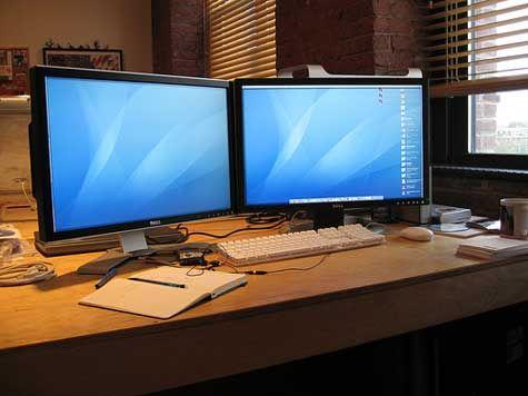 Dual Screens Blue Leds And A Diy Desk Shelf Computer Desks For