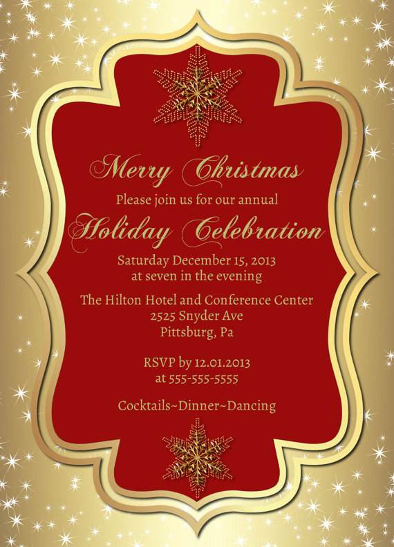 gold christmas party invitation