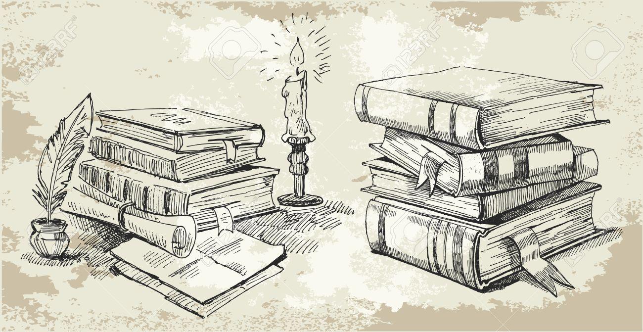 11126140-Books-stack-Stock-Vector-book-sketch-old.jpg ...