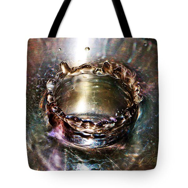 Tote Bag featuring the photograph Water Droplet Splash Crown by Michael Johnk