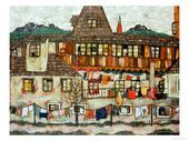 House with Drying Laundry 1917 Giclee Print by Egon Schiele at