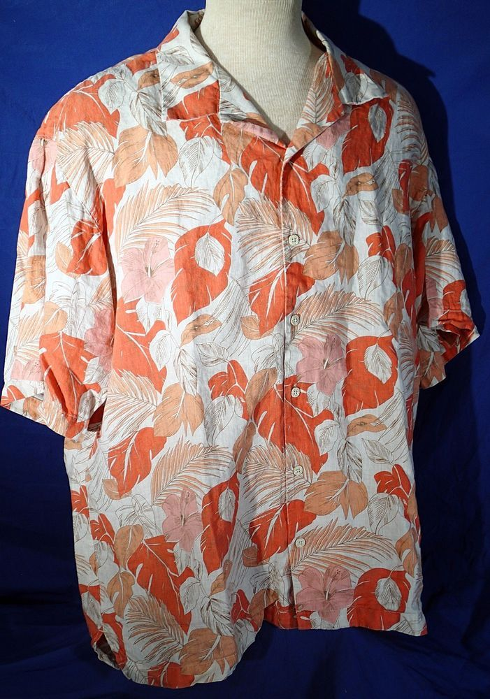 Tommy Bahama Large Button Front Short Sleeve Shirt 100% Linen Floral Orange #TommyBahama #ButtonFront