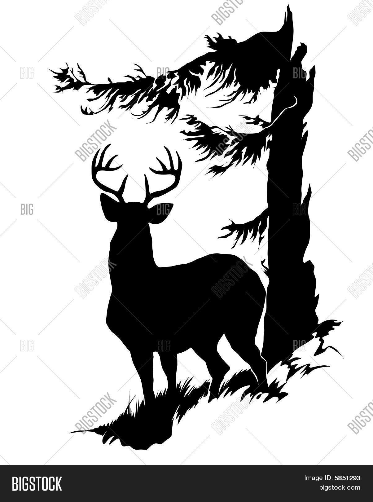 Cerf Buck chevreuil Pochoir silhouette, Silhouette de