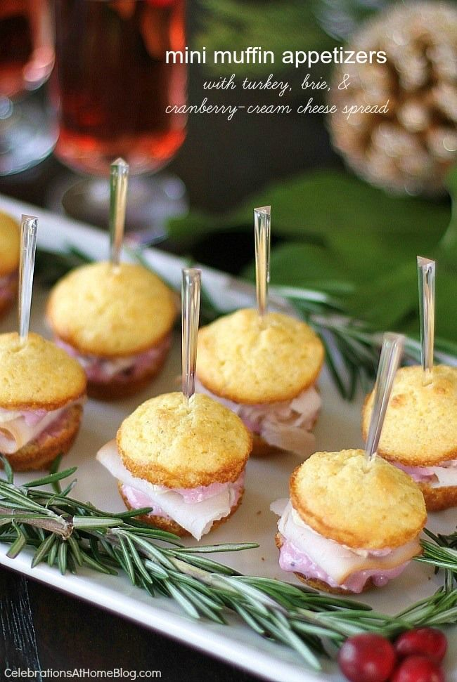 Christmas Party Appetizer Ideas Part - 27: Christmas Party Appetizers - Mini Muffin Appetizers Turn Into Sandwiches  With Turkey, Brie, And