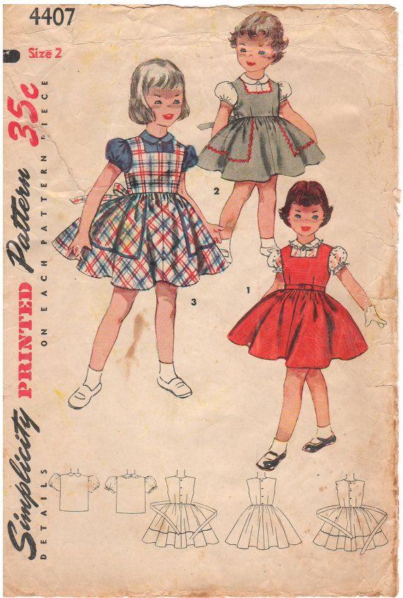 Simplicity 4407 Vintage 1950s Sewing Pattern Girls Pattern Toddler ...