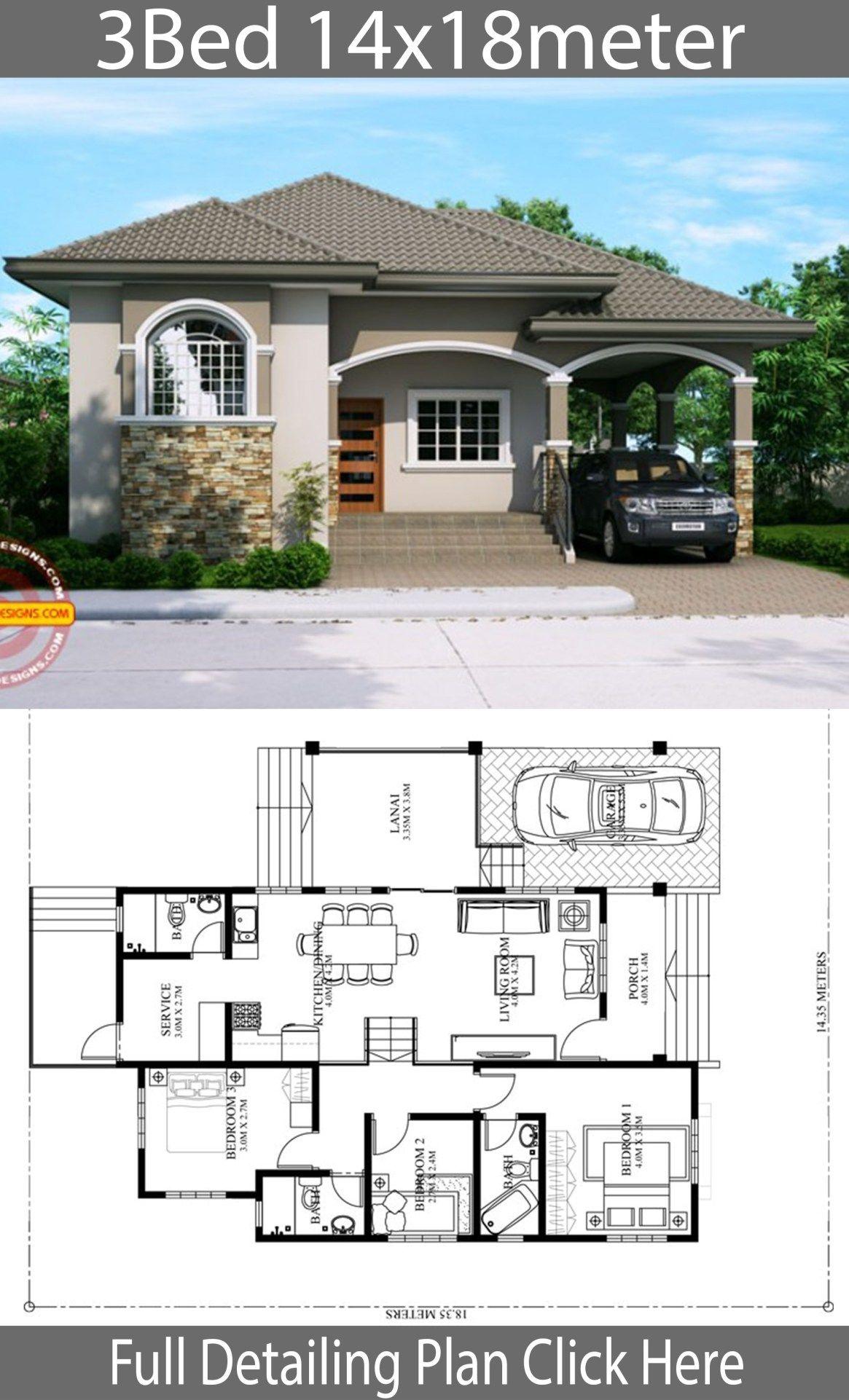Home Design Plan 14x18m With 3 Bedrooms Planos De Casas