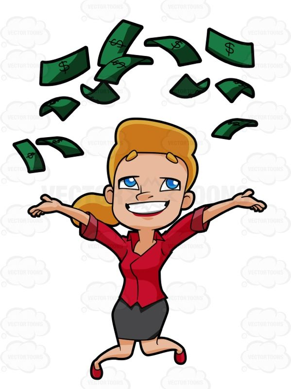 Cheerful Woman Throws Money Into The Air Money Collection Rich Women Money Bag