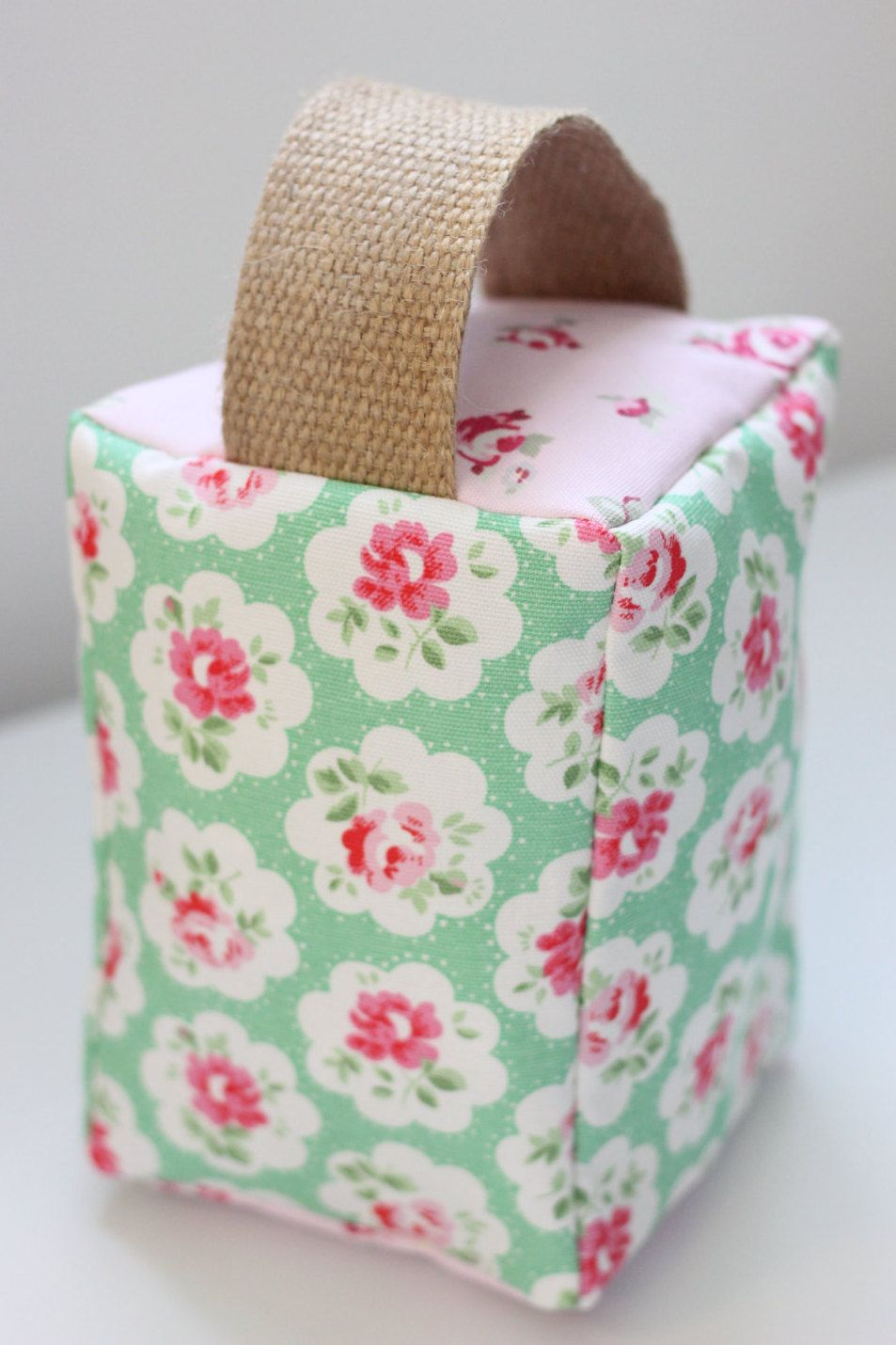 Cath Kidston Floral Green Pink Door Stop by LoveLizzieCrafts on Etsy