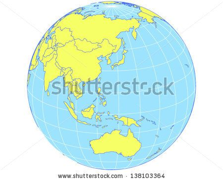 vector world map in orthographic projection as globe centered on the asia pacific region