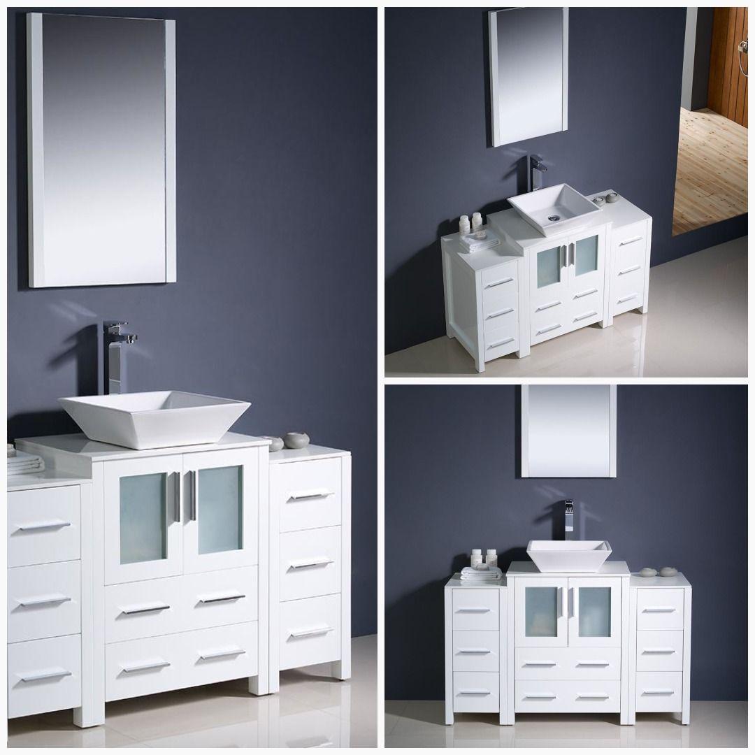 Fresca Torino 48 White Modern Bathroom Vanity W 2 Side Cabinets Vessel Sink Bathroom Bathroom Sink Decor White Bathroom Cabinets Modern Bathroom Vanity [ jpg ]
