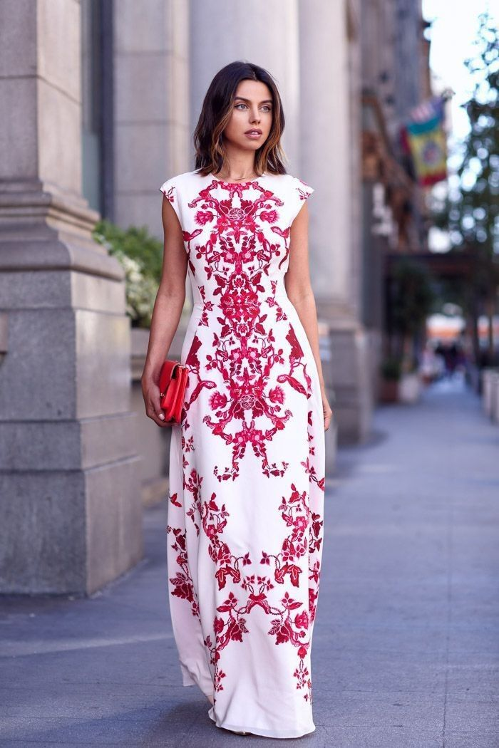 Maxi White and Red Morocco Print Dress Special Street Fashion Outfit ...
