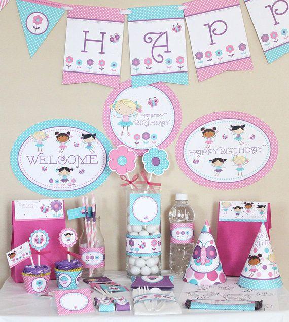 Fairy First Birthday Party Decorations Printable Fairy birthday