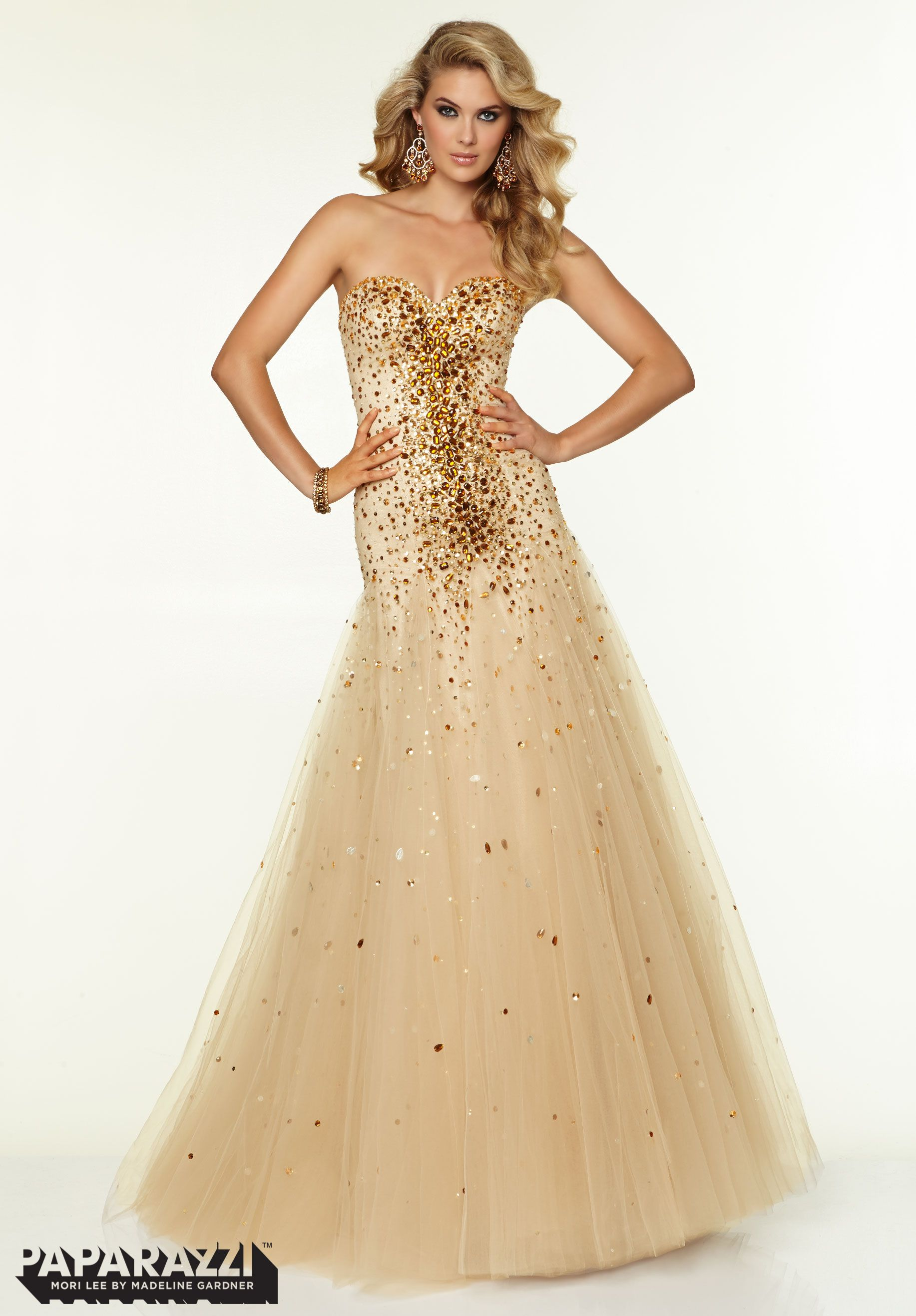 Mori lee style sz nude tulle with bronze beading original