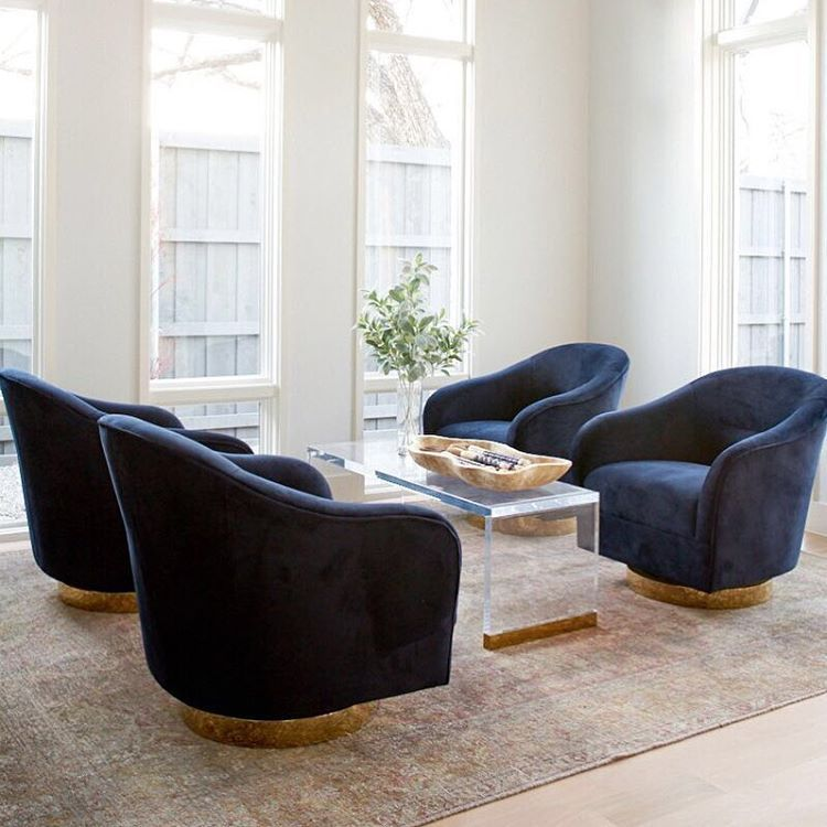 34d0db992908 4 chair set up Last chance! Only 4 of our Mayes Swivels in Navy Velvet  left. Sleek brass plinth base with modern day proportions.