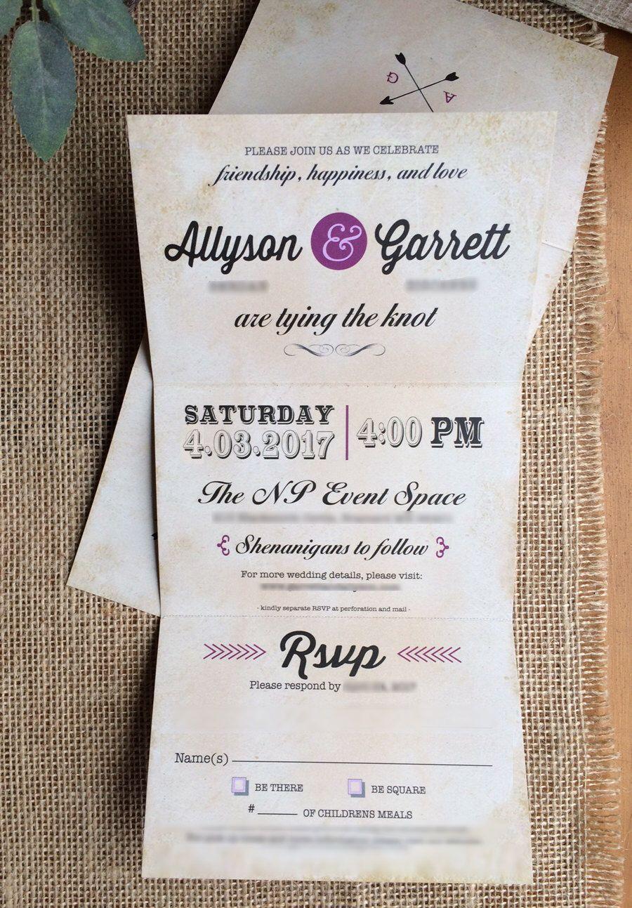 Trifold Wedding Invitations Invites RSVP Postcard 3.5 x 5.5 folded ...