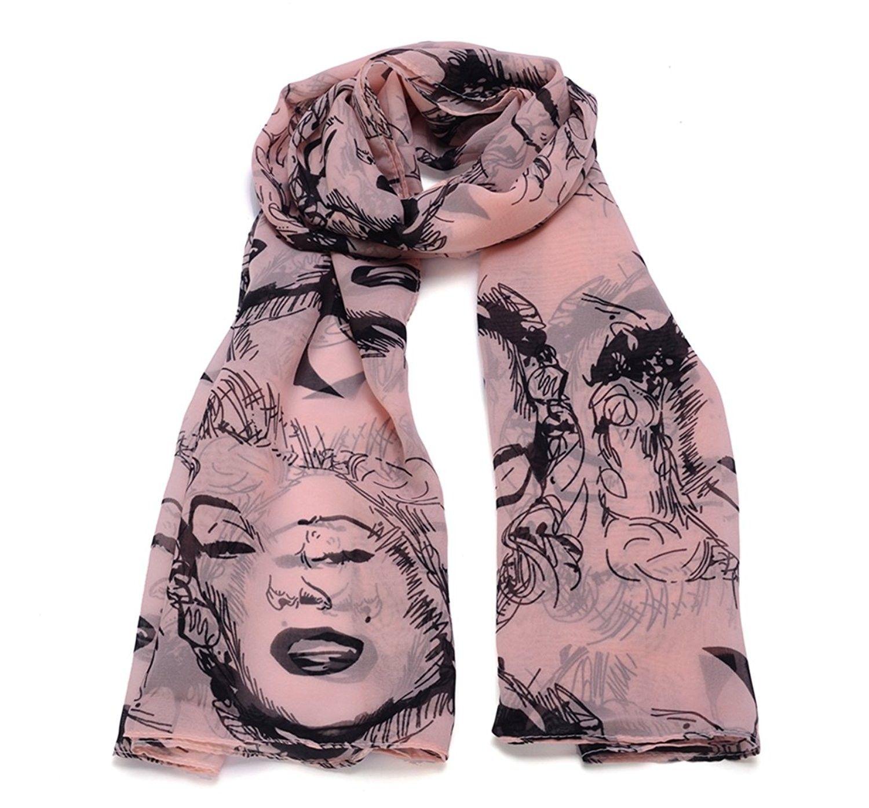 Marilyn Monroe Print Chiffon Scarf Women Lady Shawl Vintage