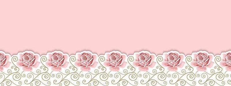 Flores Horizontales Dibujos Animados Patrón De Fondo: Rosas De Color Rosa De Fondo La Perspectiva De Dibujos