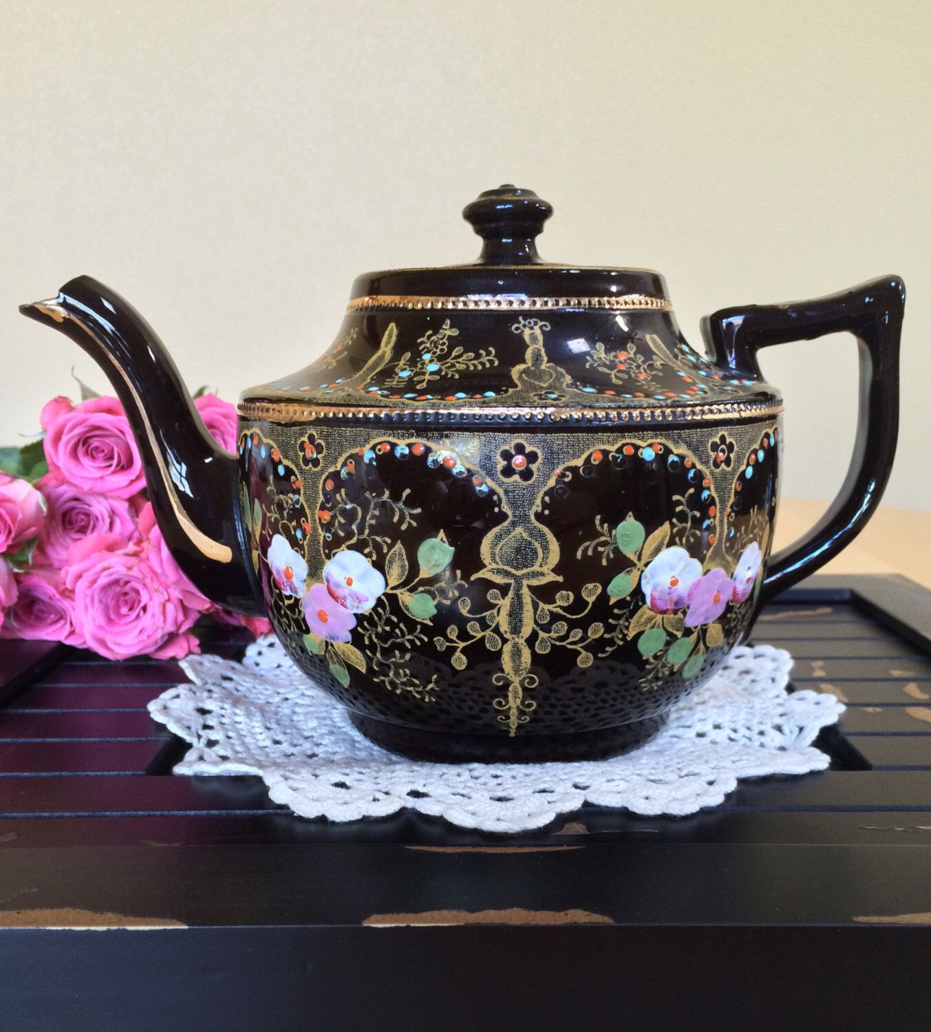 Rare Sadler Black Redware F. & V.I. Teapot, Hand Painted with Gold Trim, Made in England - c.1930s by ToZoTeacups on Etsy https://www.etsy.com/listing/294335597/rare-sadler-black-redware-f-vi-teapot