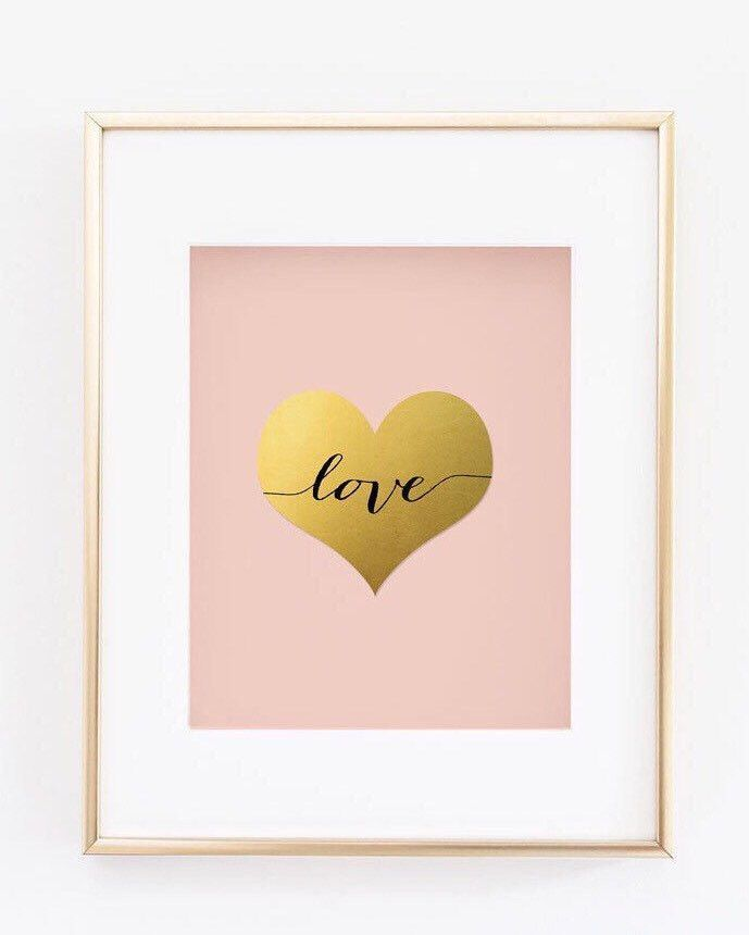 Gold Foil Wall Art pink and gold print - blush and gold nursery - heart faux gold