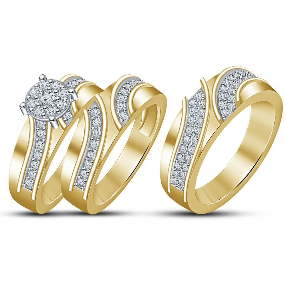 14K Yellow Gold Fn His Her Diamond Engagement Bridal