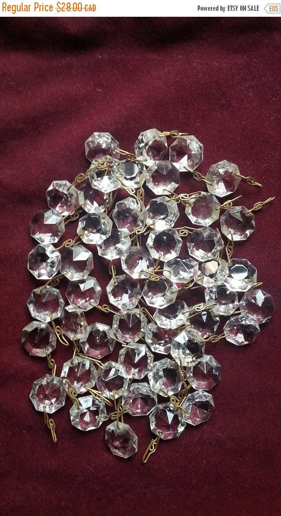 Vintage Chandelier Crystals Metal Strings Of Crystals - Vintage chandelier crystals for sale