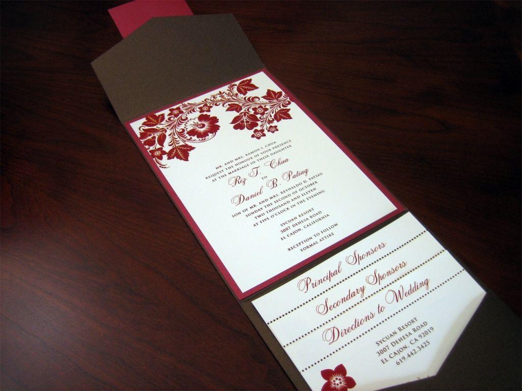 Brown and Red Fall Theme Wedding Invitation | Wedding Photos ...