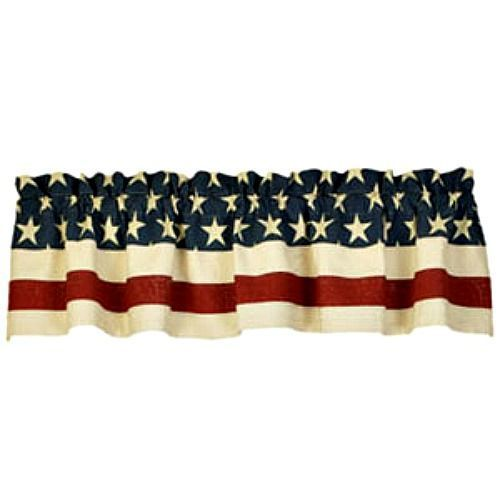 New Country Primitive Americana American Flag Star Valance Window Curtain Country House Decor Country Primitive American Flag Stars