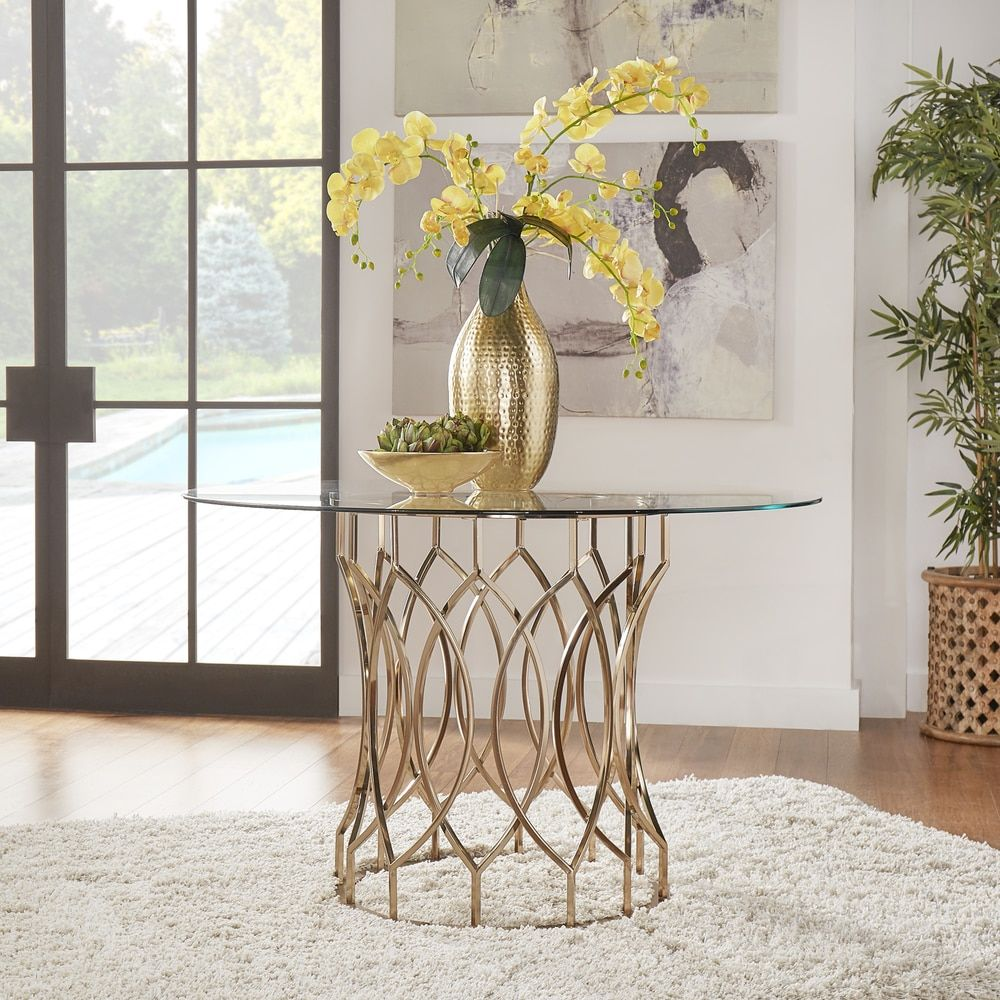 Davlin Round Glass Top Champagne Base Dining Table by INSPIRE Q