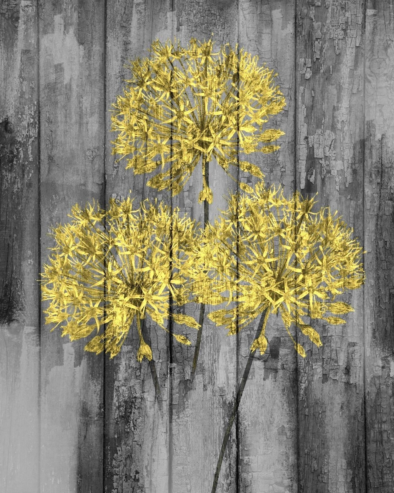 Yellow Gray Rustic Modern Artwork Home Decor Floral Wall Art ...