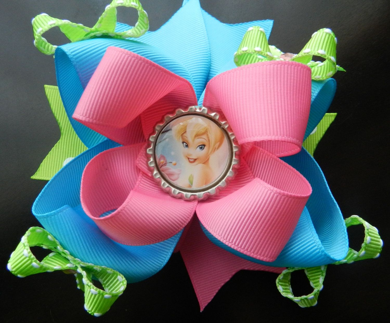 Tinker bell boutique hair bow by allthingsprettyu on etsy