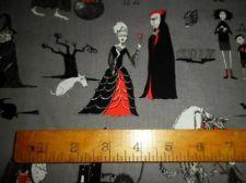 Eliz Studio Fabric Oddity's Vampire Witch Ghool Family Reunion Grey 4 Quilts