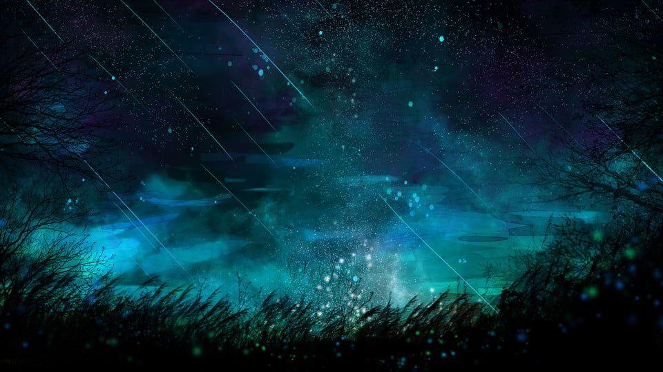 ليلة السماء الزرقاء النجوم خلفية الكرتون Fond Etoile Fond De Dessin Anime Paysage Manga