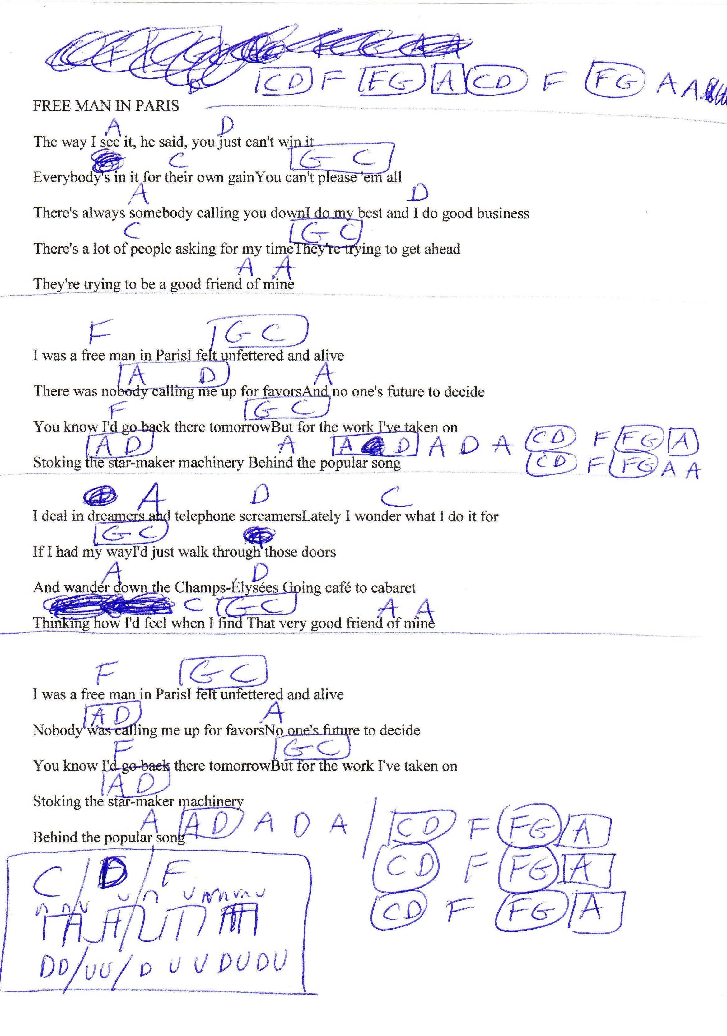 Free Man In Paris Joni Mitchell Guitar Chord Chart Guitar Lesson