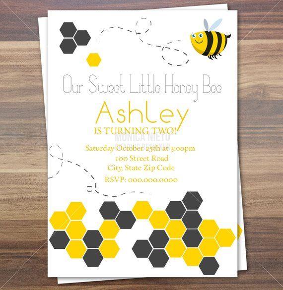 Sweet Honey Bee Birthday Invitation Little Bee Baby Shower