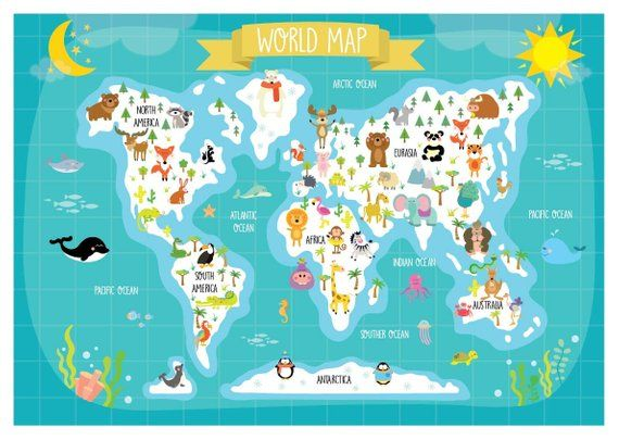Nursery Printable - Animal World Map - Kids World Map - Poster ... on world atlas, world history, world records, world wallpaper, world hunger, world war, world projection, world statistics, world glode, world military, world shipping lanes, world most beautiful nature, world travel, world of warships, world border, world earth, world culture, world flag, world wide web, world globe,